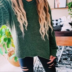 Olive green ribbed cropped oversized sweater p8